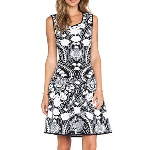 Marchesa Voyage Stretch Knit Fit and Flare Dress